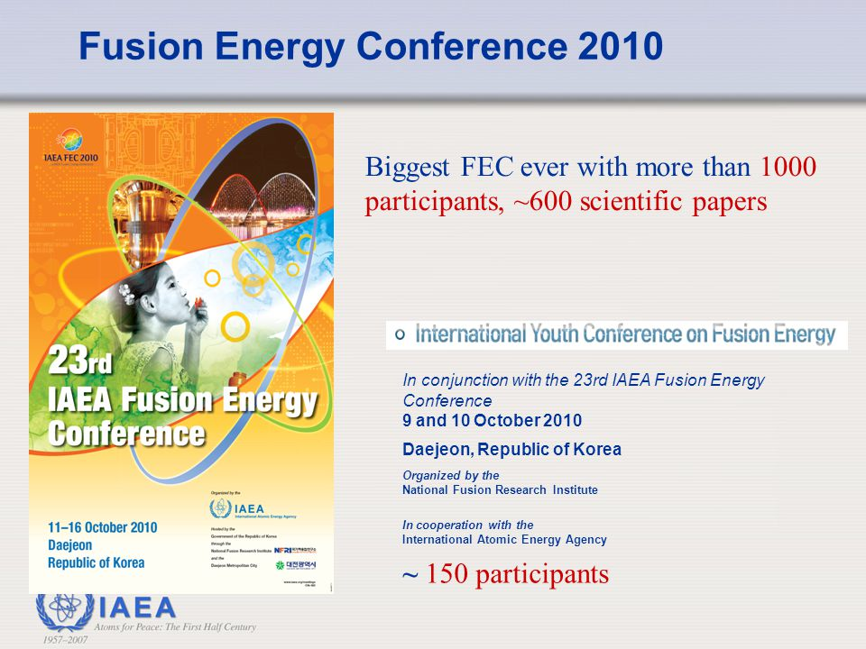 Some Technical Meetings to be held in 2010/2011 First ITER-IAEA Technical Meeting on Analysis of ITER Materials and Technologies, 23– 25 November 2010, Principality of Monaco 6 th TM on Steady State Operation of Magnetic Fusion Devices, Vienna, Dec.