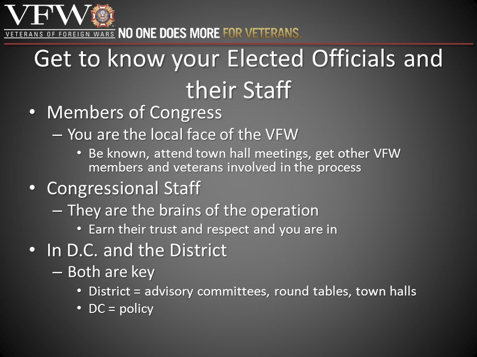 Get to know your Elected Officials and their Staff Members of Congress Members of Congress – You are the local face of the VFW Be known, attend town h
