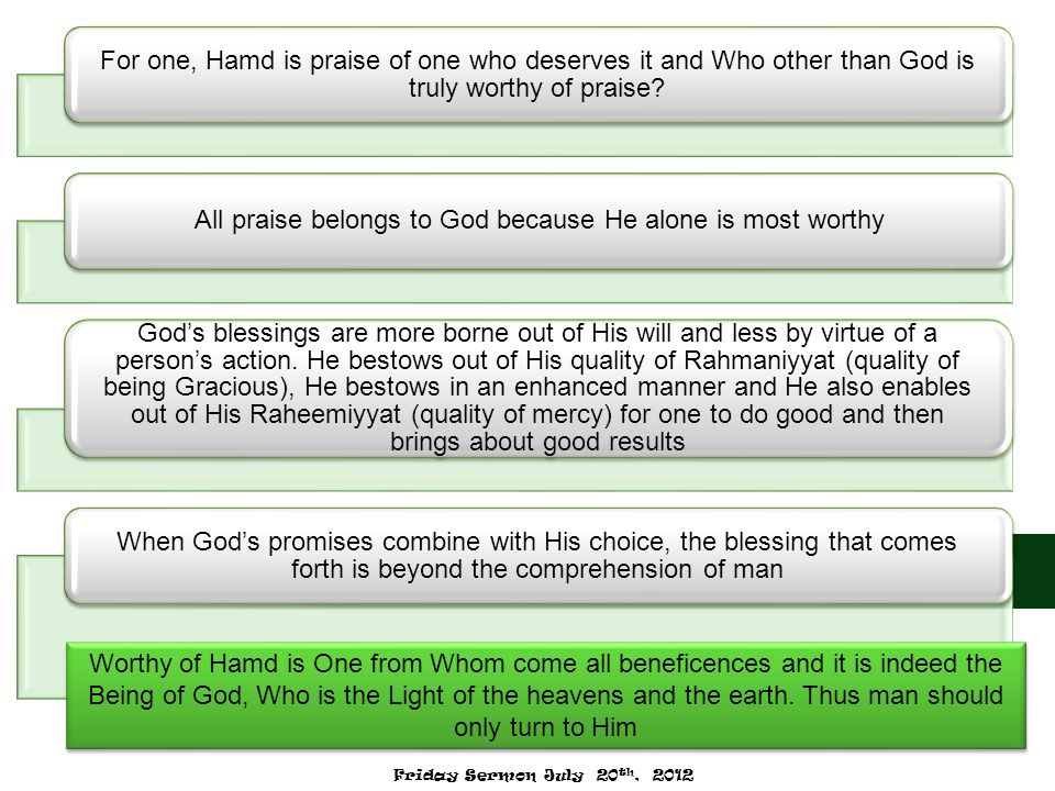 For one, Hamd is praise of one who deserves it and Who other than God is truly worthy of praise? All praise belongs to God because He alone is most wo