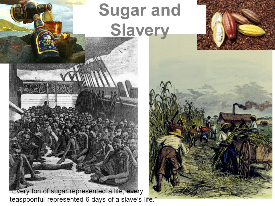 Sugar and Slavery Every ton of sugar represented a life; every teaspoonful represented 6 days of a slave's life.