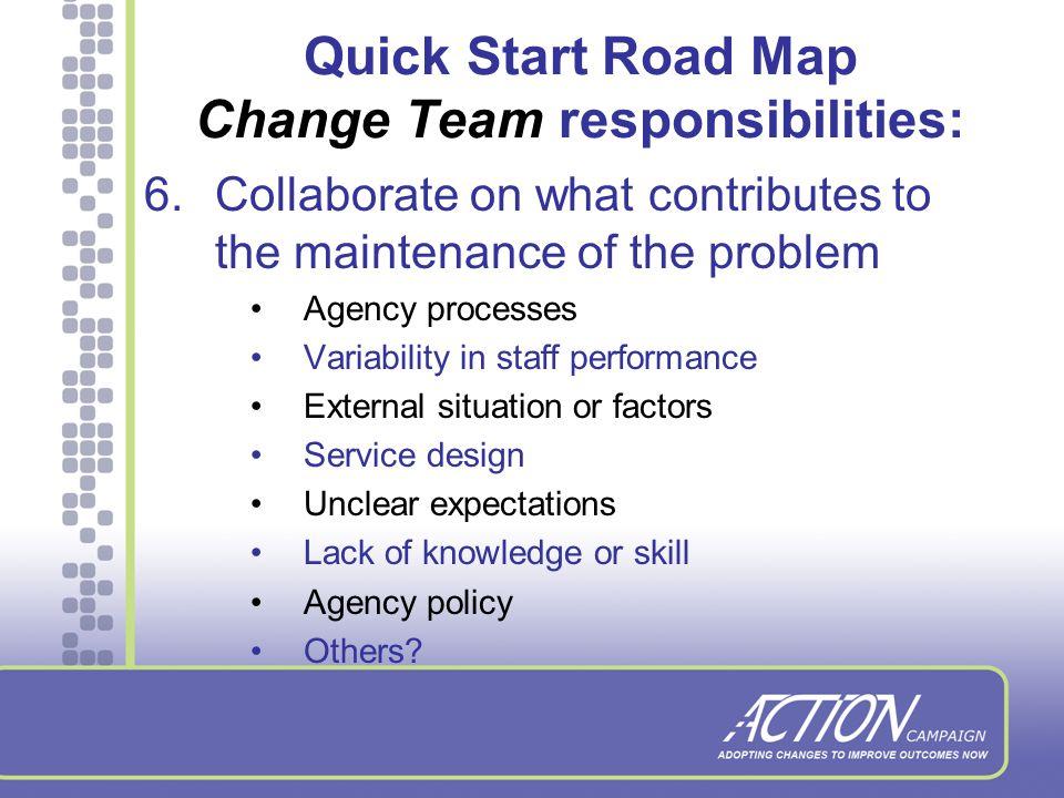 Change Project Form Details the project charter –Chosen aim, baseline, change team members, agency demographics, etc.