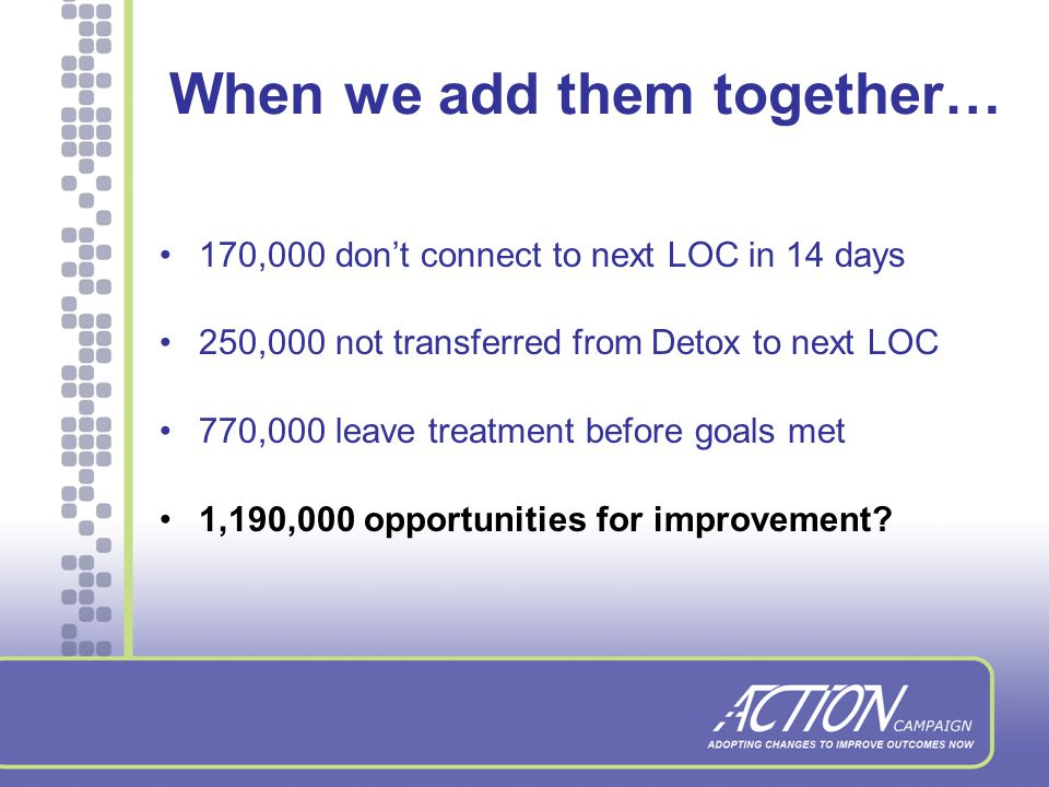 Outpatient/IOP Retention Rate Finish Treatment, No transfer: 36% Don't finish: 51% Successful transfer: 7% Transfer, No Connect: 7%
