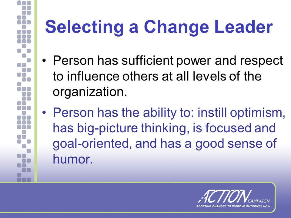 Role of the Executive Sponsor Senior leader in the agency Must see change/improvement as a priority Identifies the problem and articulates the vision Demonstrates commitment to the process (time, resources) Empowers the change leader