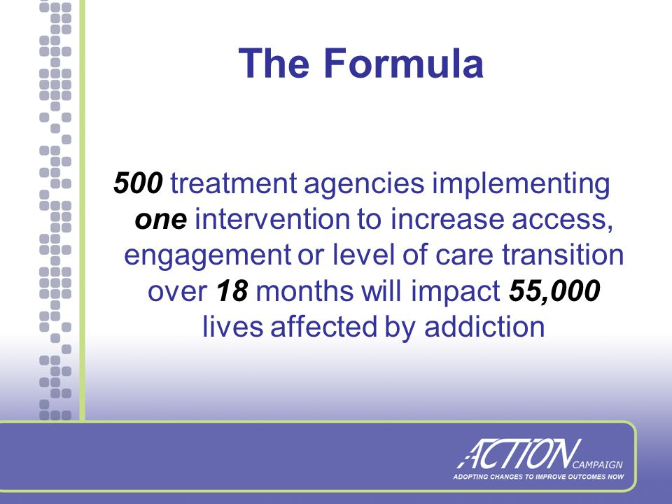 Our Growing List of Partners National Association of State Alcohol and Drug Abuse Directors National Council for Community Behavioral Healthcare Robert Wood Johnson Foundation State Associations of Addiction Services Substance Abuse and Mental Health Services Administration Center for Substance Abuse Treatment Treatment Research Institute
