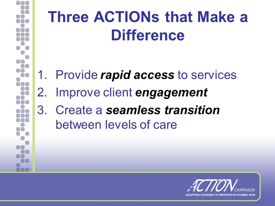 The Formula 500 treatment agencies implementing one intervention to increase access, engagement or level of care transition over 18 months will impact 55,000 lives affected by addiction