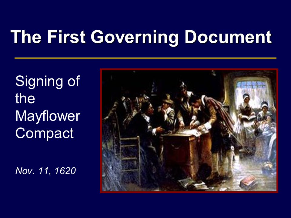The First Governing Document Signing of the Mayflower Compact Nov. 11, 1620