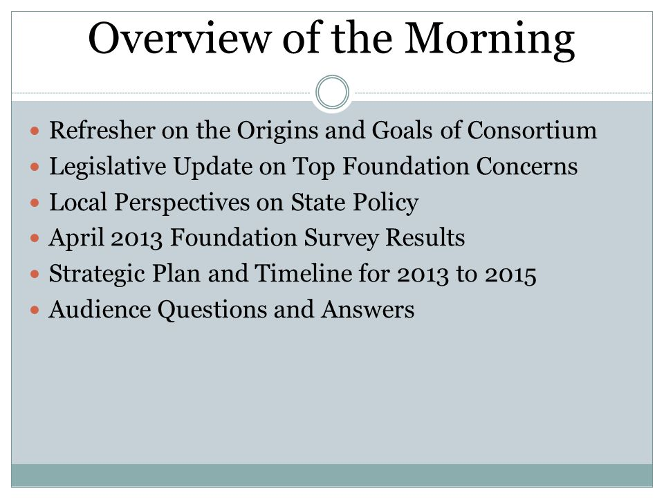 Overview of the Morning Refresher on the Origins and Goals of Consortium Legislative Update on Top Foundation Concerns Local Perspectives on State Policy April 2013 Foundation Survey Results Strategic Plan and Timeline for 2013 to 2015 Audience Questions and Answers