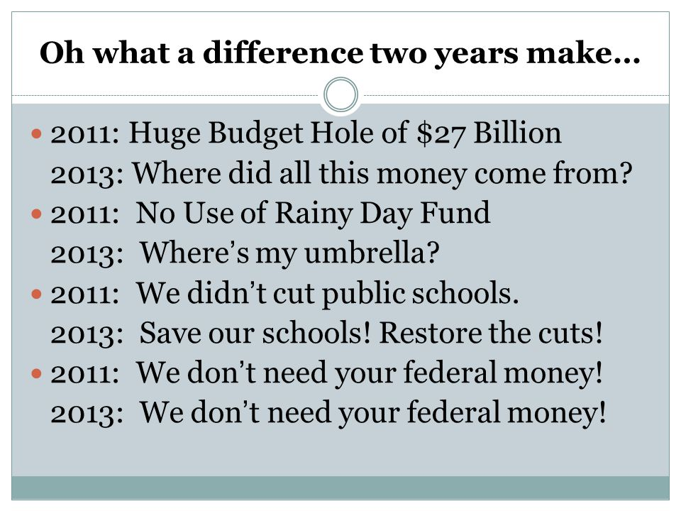 Oh what a difference two years make… 2011: Huge Budget Hole of $27 Billion 2013: Where did all this money come from.