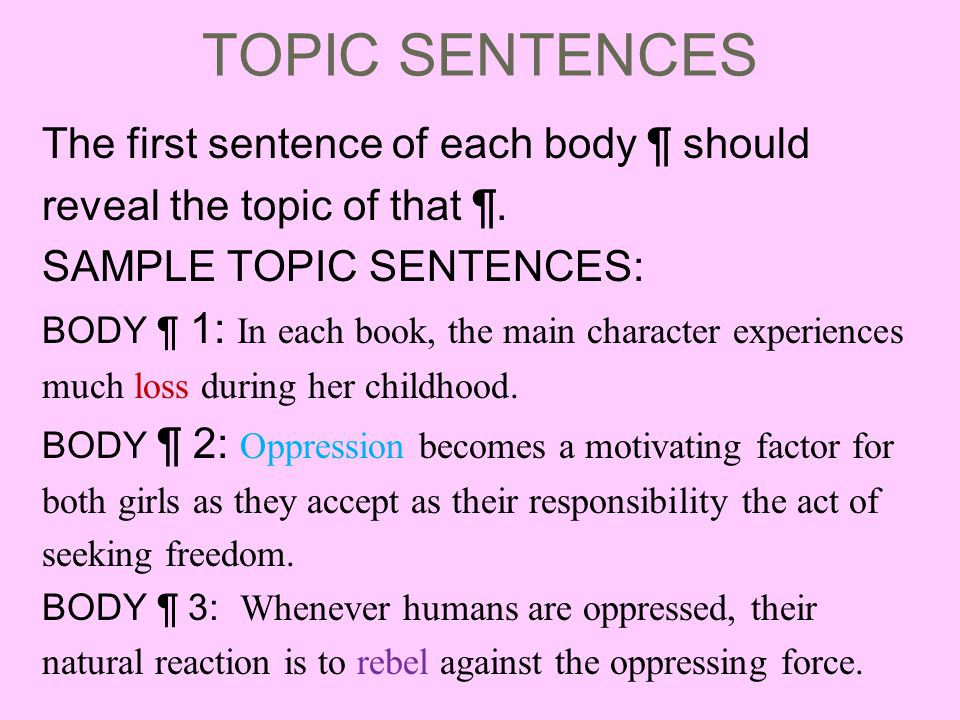 TOPIC SENTENCES The first sentence of each body ¶ should reveal the topic of that ¶.