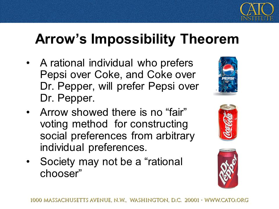 Arrow's Impossibility Theorem A rational individual who prefers Pepsi over Coke, and Coke over Dr. Pepper, will prefer Pepsi over Dr. Pepper. Arrow sh