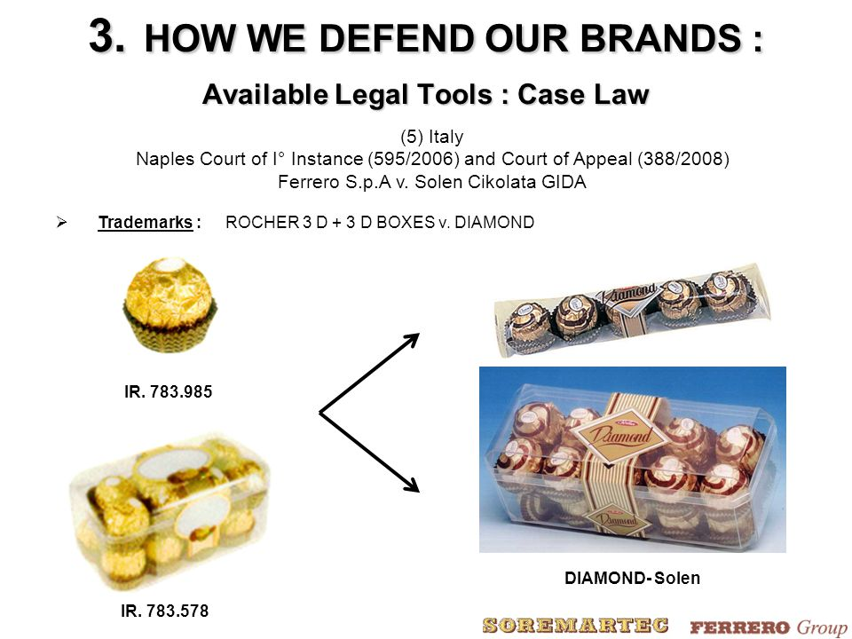 (5) Italy Naples Court of I° Instance (595/2006) and Court of Appeal (388/2008) Ferrero S.p.A v. Solen Cikolata GIDA  Trademarks :ROCHER 3 D + 3 D BO