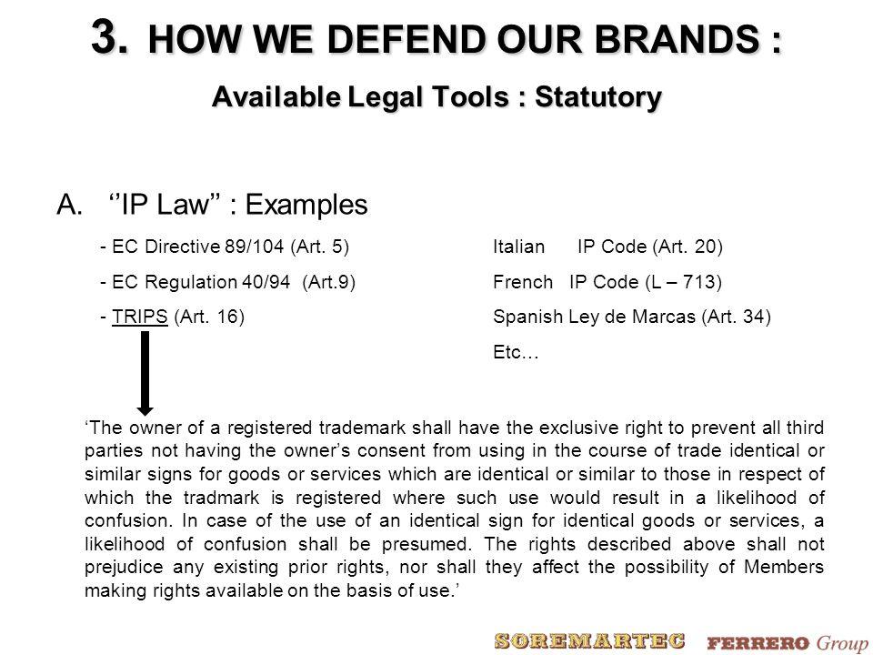 A.''IP Law'' : Examples - EC Directive 89/104 (Art.