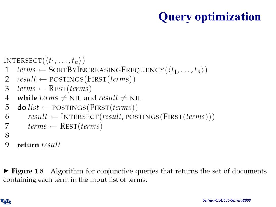 Srihari-CSE535-Spring2008 Query optimization