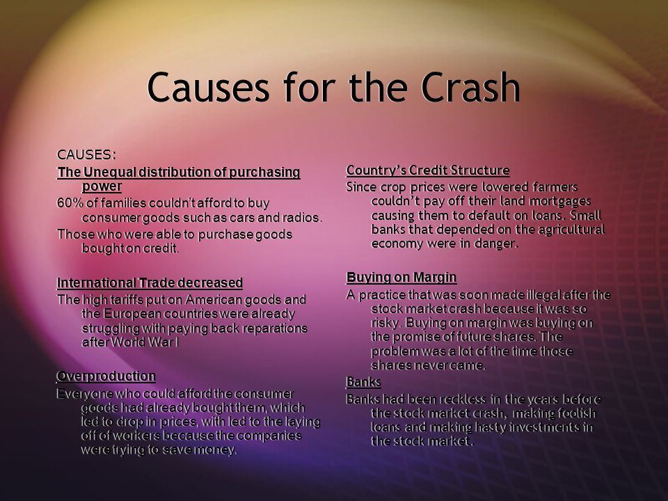 Causes for the Crash CAUSES: The Unequal distribution of purchasing power 60% of families couldn't afford to buy consumer goods such as cars and radio