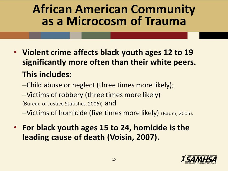 African American Community as a Microcosm of Trauma Violent crime affects black youth ages 12 to 19 significantly more often than their white peers.