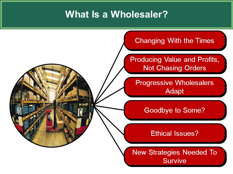 What Is a Wholesaler? Progressive Wholesalers Adapt Changing With the Times Producing Value and Profits, Not Chasing Orders Goodbye to Some? Ethical I
