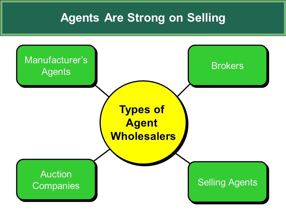Agents Are Strong on Selling Manufacturer's Agents Manufacturer's Agents Brokers Selling Agents Auction Companies Types of Agent Wholesalers