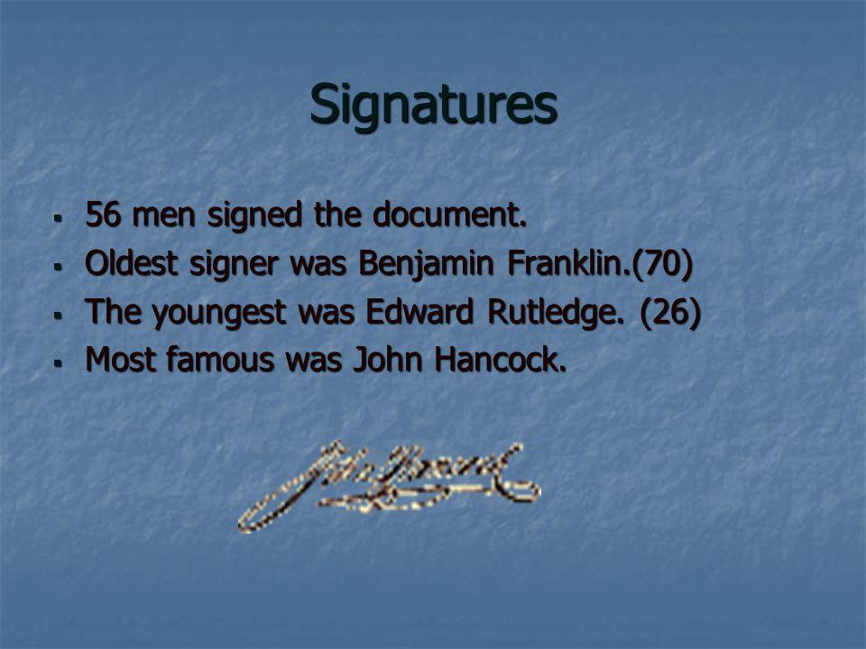 Signatures  56 men signed the document.