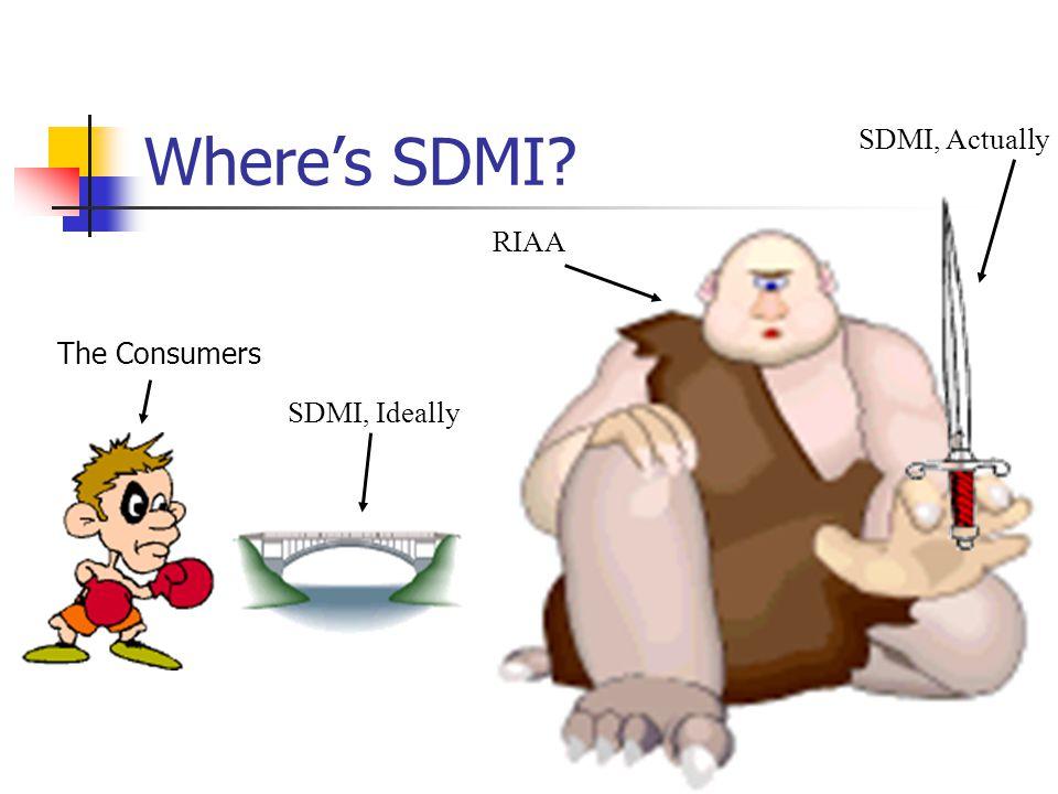 Where's SDMI RIAA The Consumers SDMI, Ideally SDMI, Actually