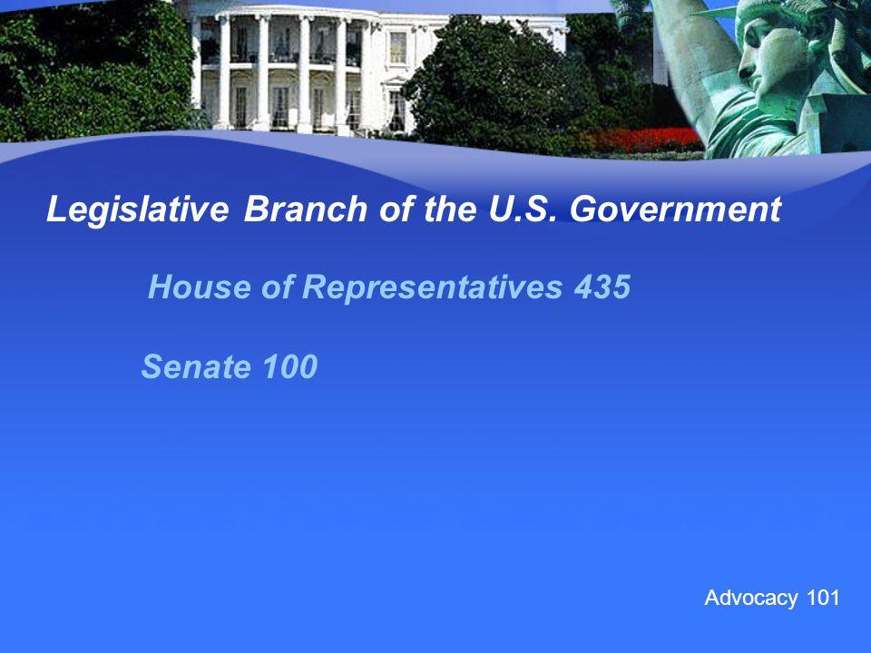 Legislative Branch of the U.S. Government House of Representatives 435 Senate 100 Advocacy 101