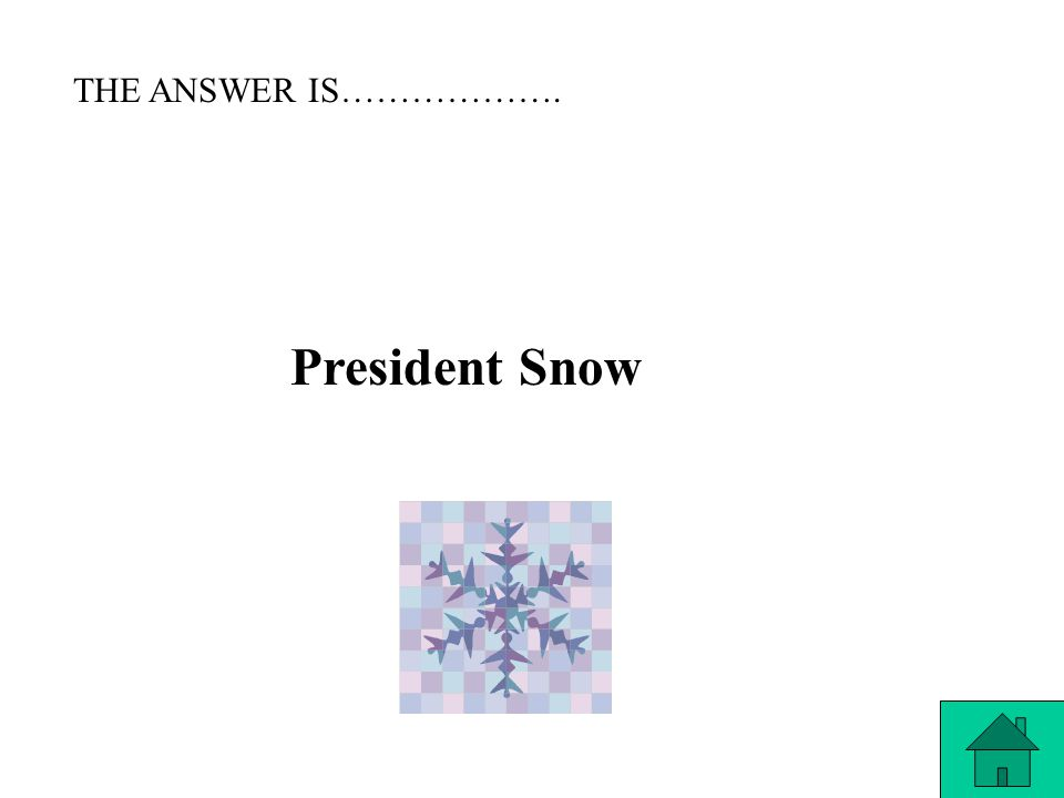 THE QUESTION IS……. Who is the President of Panem