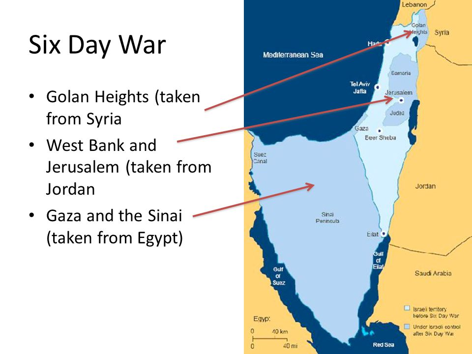Six Day War Golan Heights (taken from Syria West Bank and Jerusalem (taken from Jordan Gaza and the Sinai (taken from Egypt)