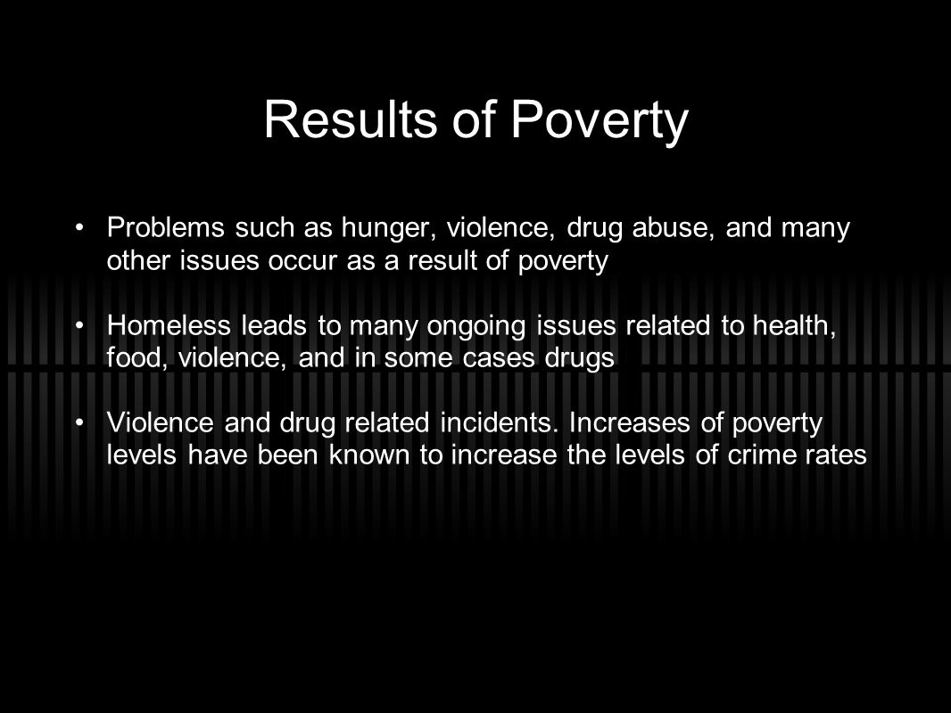 Results of Poverty Problems such as hunger, violence, drug abuse, and many other issues occur as a result of poverty Homeless leads to many ongoing issues related to health, food, violence, and in some cases drugs Violence and drug related incidents.