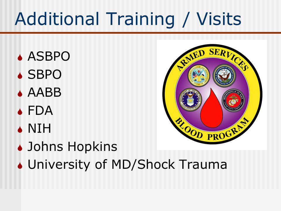 Additional Training / Visits  ASBPO  SBPO  AABB  FDA  NIH  Johns Hopkins  University of MD/Shock Trauma