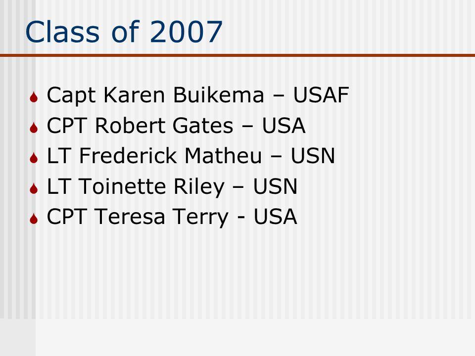 Class of 2007  Capt Karen Buikema – USAF  CPT Robert Gates – USA  LT Frederick Matheu – USN  LT Toinette Riley – USN  CPT Teresa Terry - USA