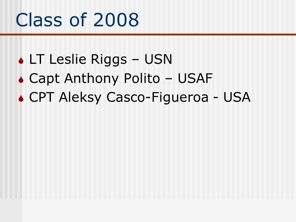 Class of 2008  LT Leslie Riggs – USN  Capt Anthony Polito – USAF  CPT Aleksy Casco-Figueroa - USA