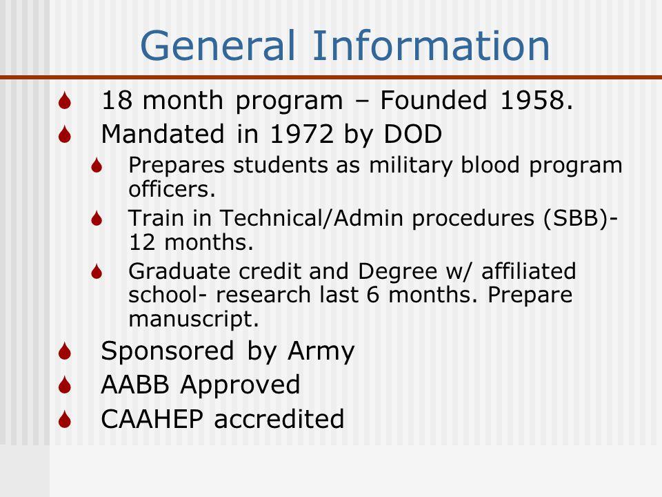 General Information  18 month program – Founded 1958.