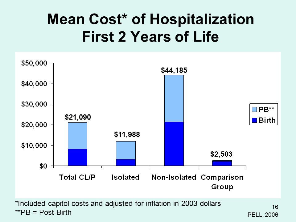 16 Mean Cost* of Hospitalization First 2 Years of Life PELL, 2006 $11,988 $44,185 $2,503 $21,090 *Included capitol costs and adjusted for inflation in 2003 dollars **PB = Post-Birth