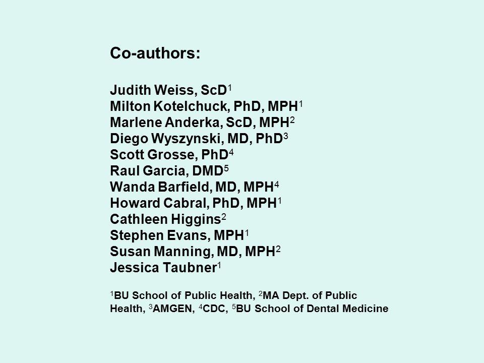 Co-authors: Judith Weiss, ScD 1 Milton Kotelchuck, PhD, MPH 1 Marlene Anderka, ScD, MPH 2 Diego Wyszynski, MD, PhD 3 Scott Grosse, PhD 4 Raul Garcia, DMD 5 Wanda Barfield, MD, MPH 4 Howard Cabral, PhD, MPH 1 Cathleen Higgins 2 Stephen Evans, MPH 1 Susan Manning, MD, MPH 2 Jessica Taubner 1 1 BU School of Public Health, 2 MA Dept.