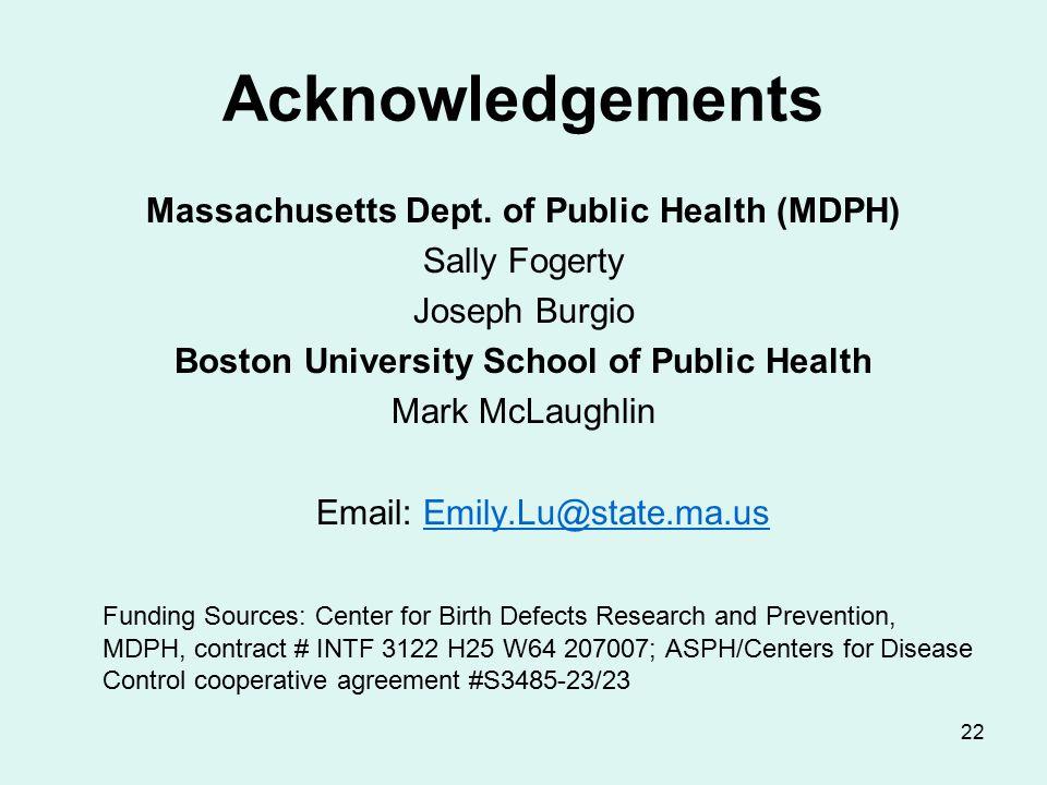 22 Acknowledgements Massachusetts Dept.