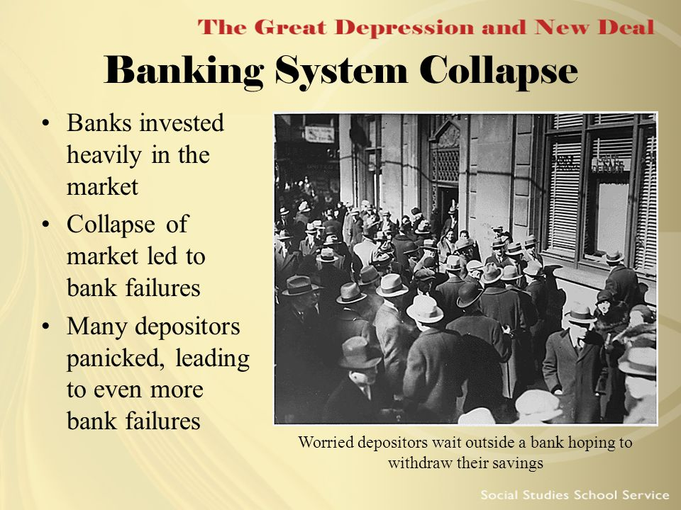 Banking System Collapse Banks invested heavily in the market Collapse of market led to bank failures Many depositors panicked, leading to even more ba