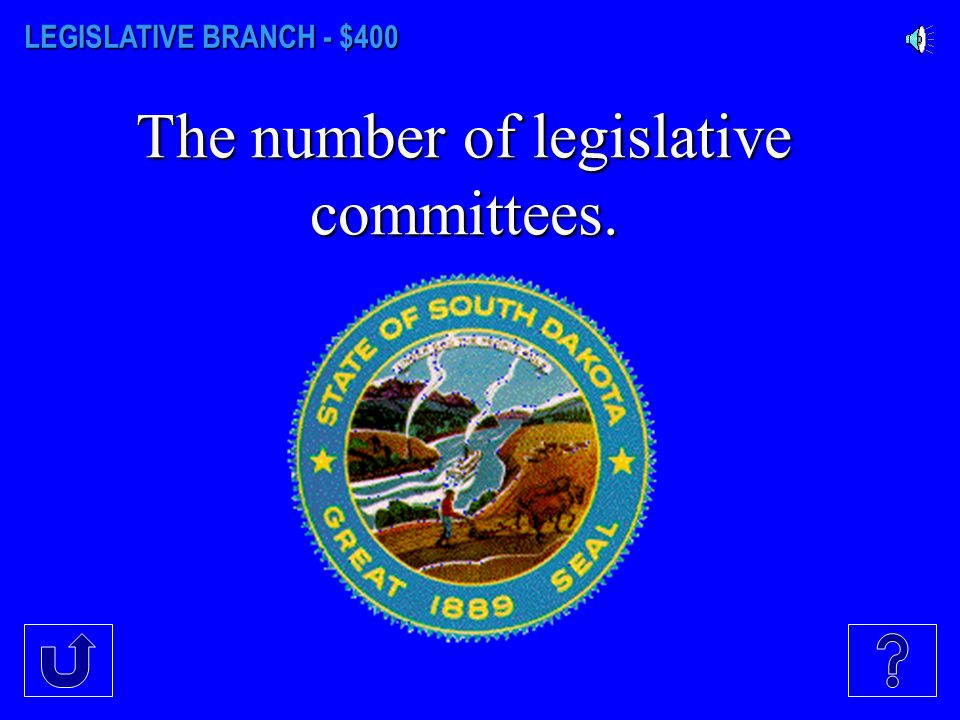 LEGISLATIVE BRANCH - $300 The name of the South Dakota state Capitol where the legislative session takes place.