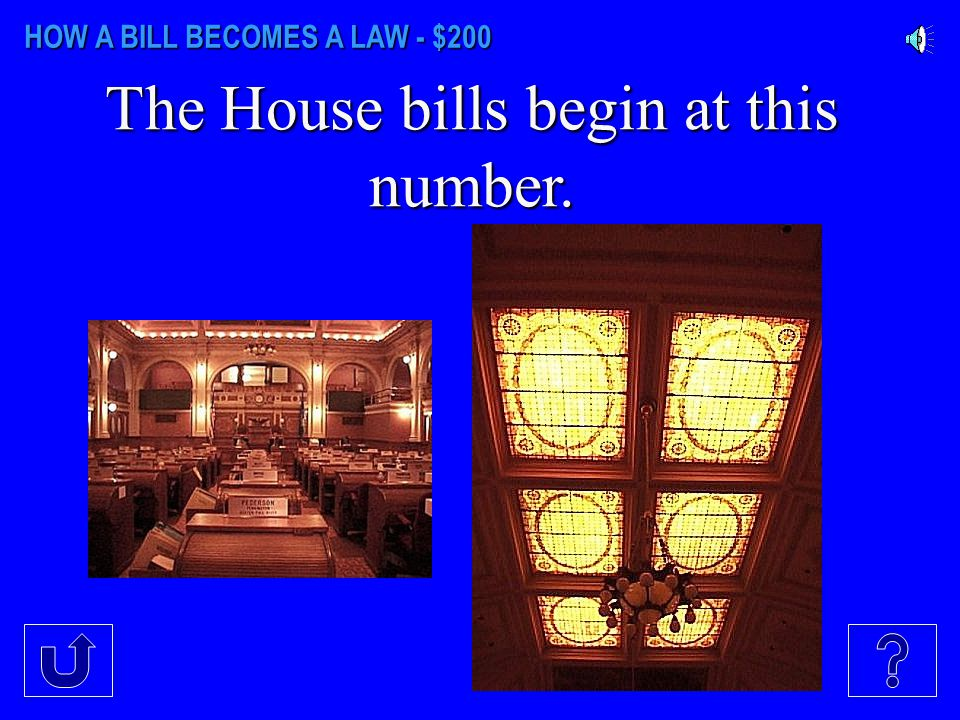 HOW A BILL BECOMES A LAW - $100 The Senate bills begin at this number. Senate Chambers