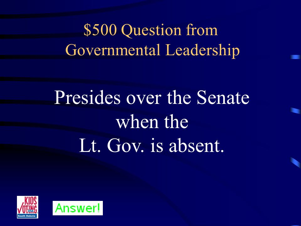 $400 Answer from Governmental Leadership Who is the Chief Justice.