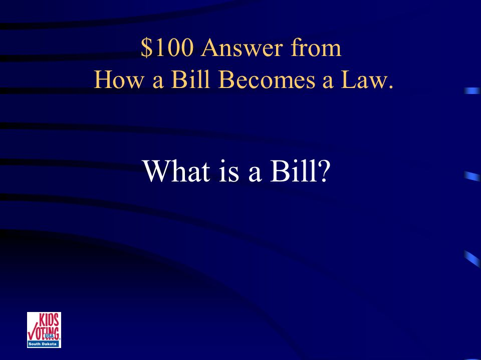 $100 Question from How a Bill Becomes a Law. A Law or Regulation Proposed in the Legislature.