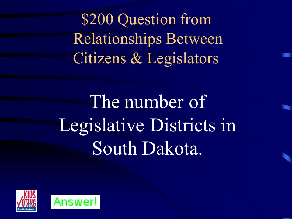 $100 Answer from Relationships Between Citizens & Legislators Who are Legislators.