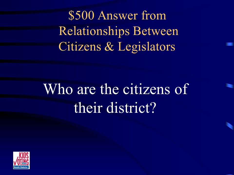 $500 Question from Relationships Between Citizens & Legislators Legislators are responsible to these people.