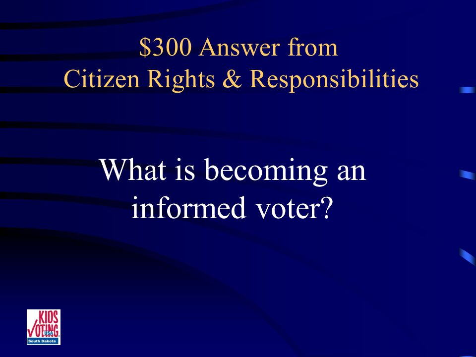 $300 Question from Citizen Rights & Responsibilities Learning about candidates running for public office.