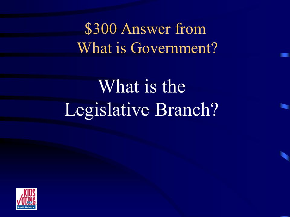 $300 Question from What is Government This branch makes the laws.
