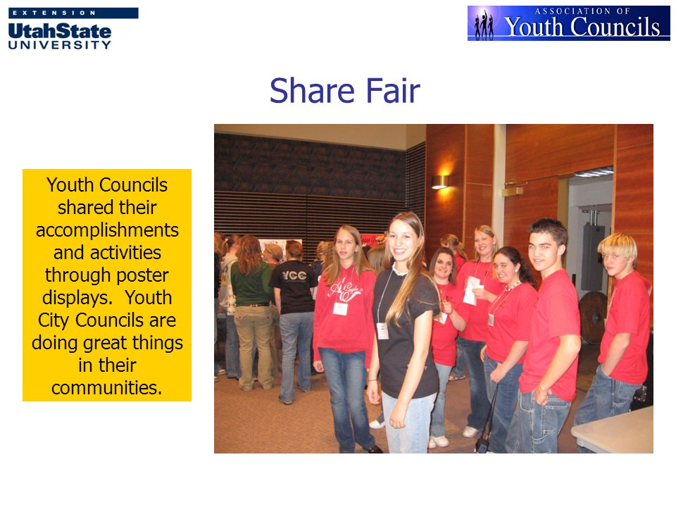 Share Fair Youth Councils shared their accomplishments and activities through poster displays.