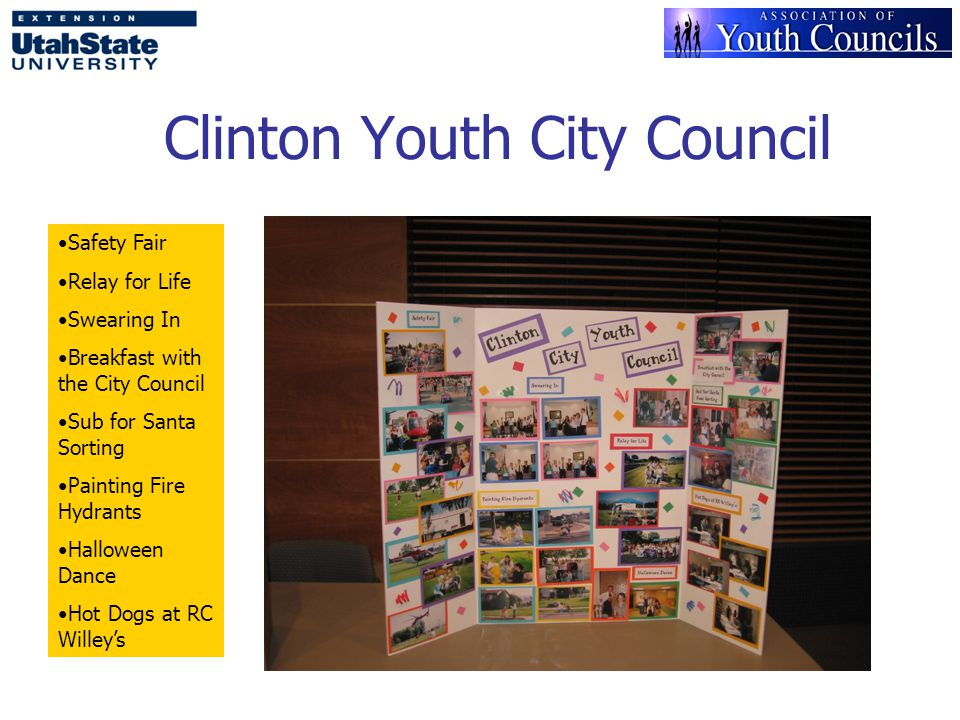 Clinton Youth City Council Safety Fair Relay for Life Swearing In Breakfast with the City Council Sub for Santa Sorting Painting Fire Hydrants Halloween Dance Hot Dogs at RC Willey's