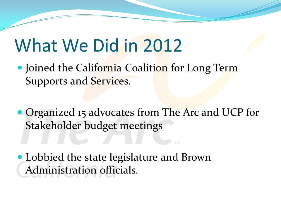 What We Did in 2012 Joined the California Coalition for Long Term Supports and Services.