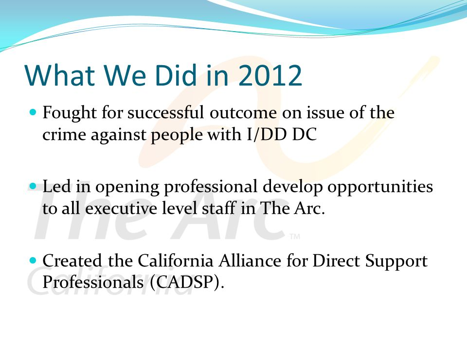 What We Did in 2012 Fought for successful outcome on issue of the crime against people with I/DD DC Led in opening professional develop opportunities to all executive level staff in The Arc.