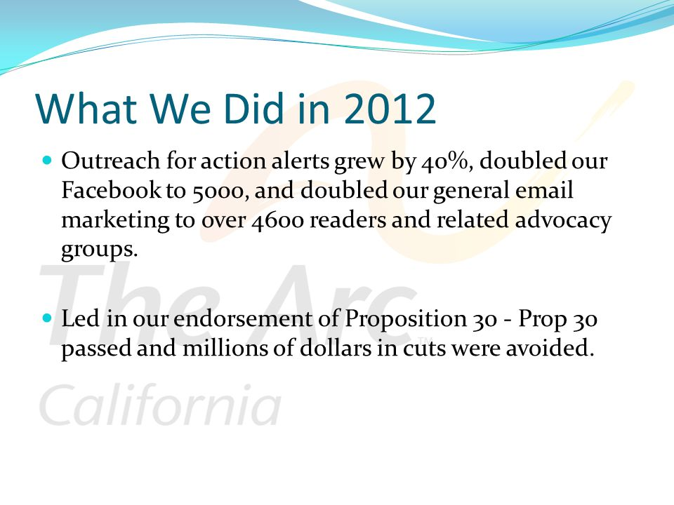 What We Did in 2012 Outreach for action alerts grew by 40%, doubled our Facebook to 5000, and doubled our general email marketing to over 4600 readers and related advocacy groups.