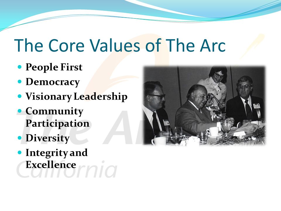 The Core Values of The Arc People First Democracy Visionary Leadership Community Participation Diversity Integrity and Excellence