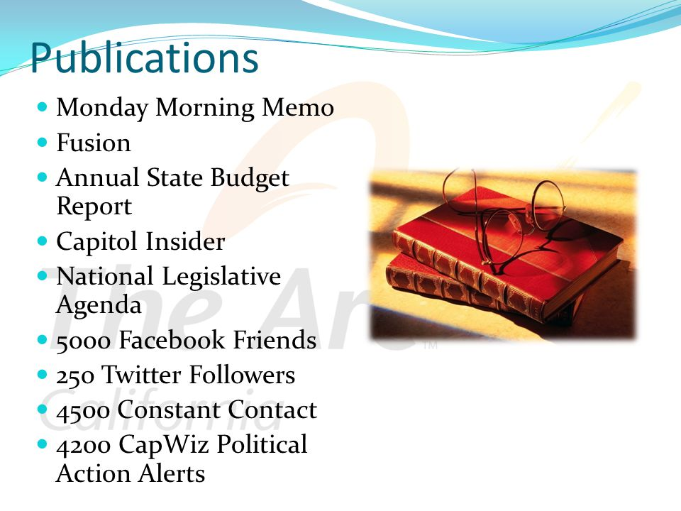 Publications Monday Morning Memo Fusion Annual State Budget Report Capitol Insider National Legislative Agenda 5000 Facebook Friends 250 Twitter Followers 4500 Constant Contact 4200 CapWiz Political Action Alerts